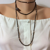 Bronze Pyrite Choker Necklace w One Single Peacock Baroque Pearl at $135