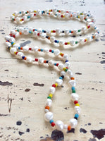Freshwater Pearls & African Glass Beads Necklace