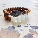 Evil Eye Diamond Bracelet For Women, Sandalwood Bracelet, Moonstone Stretch Bracelet