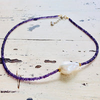 Amethyst & Baroque Pearl Choker Necklace, February Birthstone Necklace