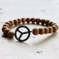 Peace Sign Diamond Moonstone Sandalwood Stretch Bracelet