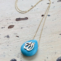 "18K Gold Delicate Minimalist Turquoise Allah Pendant, 16"" Inches"