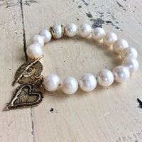 Large Pearls Love Charm Bracelet, Bronze & Gold Filled