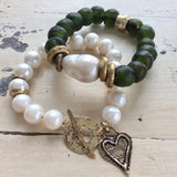 Baroque Pearl & Olive Green African Tribal Recycled Glass Bracelet