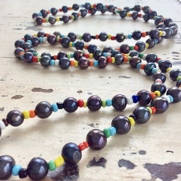 Black Pearl & Colourful Glass Beads Long Rope Necklace