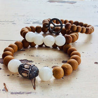 Diamond & White Moonstone Sandalwood Bracelet