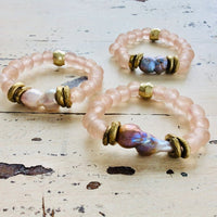 Baroque Pearl w Pale Pink African Tribal Recycled Glass Bracelet