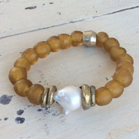 Baroque Pearl & Gold whiskey African Tribal Recycled Glass Bracelet