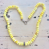 Natural Yellow Opal Beaded Necklace, Diamond Pave Necklace