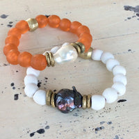 Large Baroque Pearl Bracelet & Coral White African Tribal Recycled Glass Bracelet