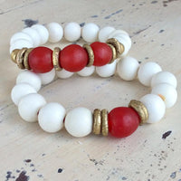 White Wood and Sea Glass Stretchy Bracelet, Chunky Beaded Pebble Bracelet