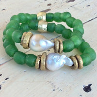 Baroque Pearl & Green African Tribal Recycled Glass Bracelet