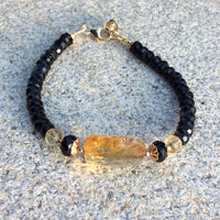 Delicate Black Spinel and Citrine Bracelet