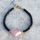 Genuine Rose Quartz w Black Spinel Bracelet