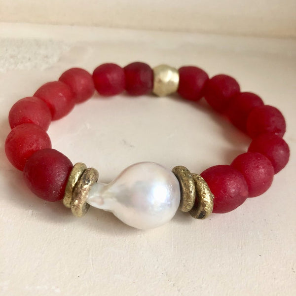 Large Baroque Pearl Bracelet, Deep Red African Tribal Recycled Glass
