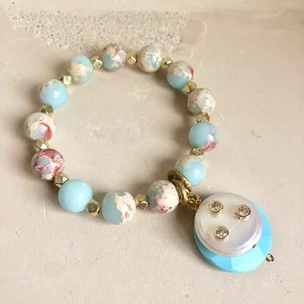 Pale Blue Opal Sediment Jasper with Studded Coin Pearl and Turquoise Charm Pendant