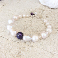 Baroque Pearl Wood Bracelets Set at $135