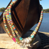 Boho Chic Summer Vibes Fun Necklace w African Vulcanite & Keshi Pearls at $128