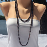 Women Brown Pearl Rope Necklace