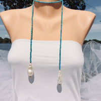 Turquoise and Baroque Pearl Lariat Necklace