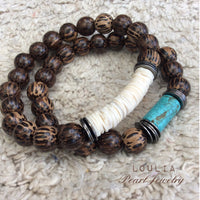 Patikan Wood and Turquoise Cylinder Stretch Bracelet