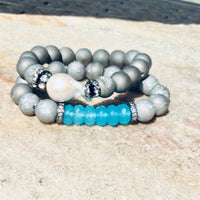 Aqua Blue Chalcedony & Silver Gray Druzy Agate Baroque Bracelet Stack at $140