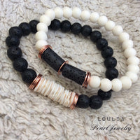 Bone Beads & Black Lava w Senegal Shell Disks Bracelet for Men at $45