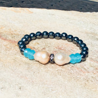 Aqua Blue Chalcedony with Flameball Baroque Pearl Stretch Bracelet at $89