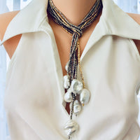 Single Strand of Silver Pyrite and Large Baroque Pearl Lariat Necklace