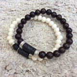 Off White Bone and Black Lava Bracelet for Him