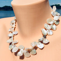 Petal Pearl & Champagne Diamond Pave Necklace