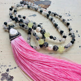 Rutilated Quartz Boho Style Tassel Necklace