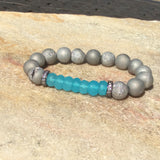 Aqua Blue Chalcedony & Silver Gray Druzy Agate Baroque Bracelet Stack at $69
