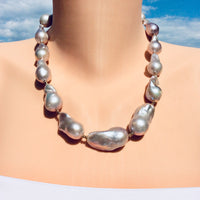Silver Gray Baroque Pearl Necklace