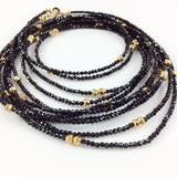 Delicate Black and Gold Multi Strands Matinee Necklace