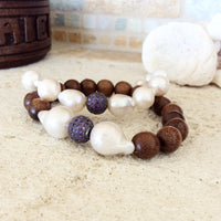 Baroque Pearl Wood Bracelets Set at $209