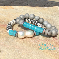 Aqua Blue Chalcedony & Silver Gray Druzy Agate Baroque Bracelet Stack at $136