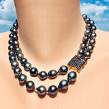 Double Strands Tahitian Pearl Champagne Diamonds Necklace