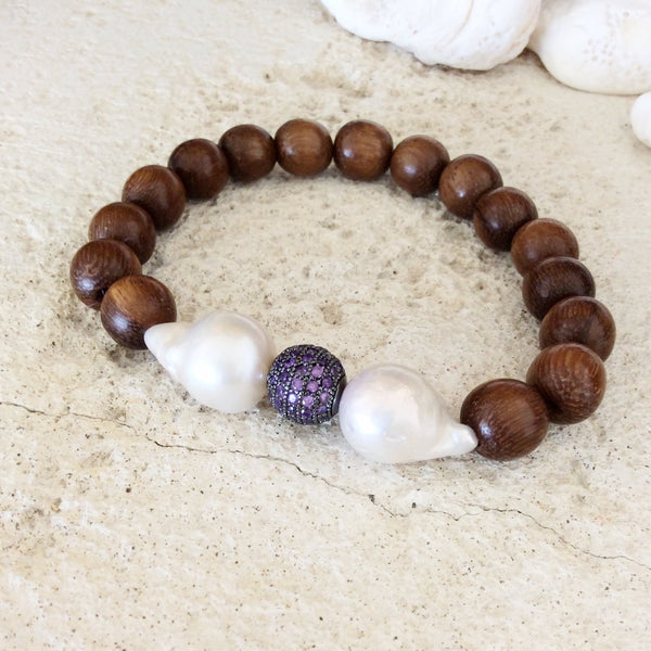 Baroque Pearl Wood Bracelets Set at $85