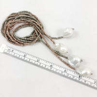 Single Strand Pyrite and Large Baroque Pearl Lariat Necklace