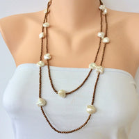 Bronze Pyrite Biwa Pearls Double Strands Matinee Necklace at $295