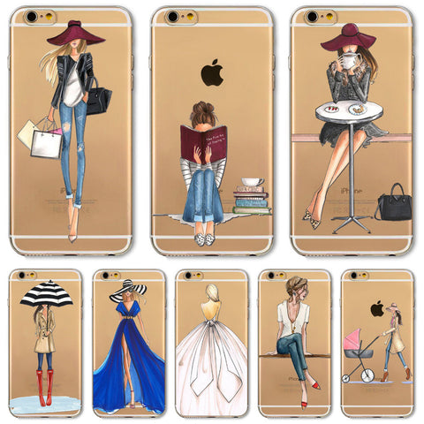 Fashion Dress Design Transparent Soft Silicon Cover for iPhone