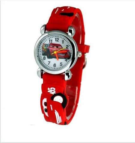 Boy & Girl 3D Cartoon Red Cars Wristwatch for Kids