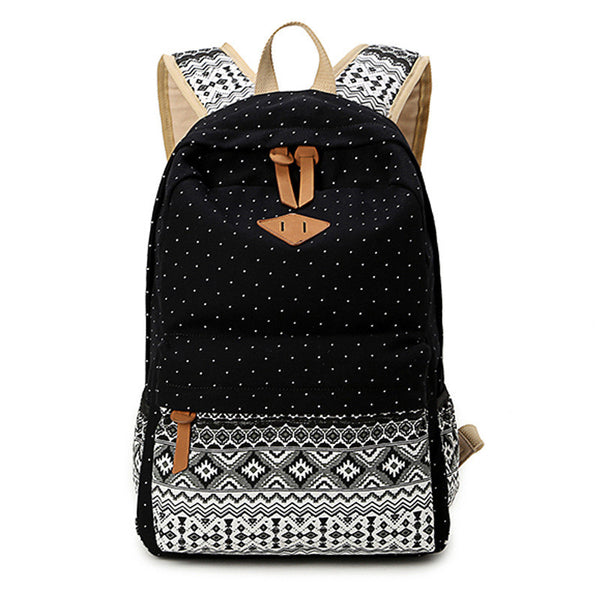 Vintage Girl School Bags - Cute Dot Printing Canvas ( Casual School Backpack )