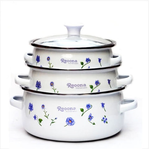 Enamel Kitchen Cooking Pots Set with Glass Cover