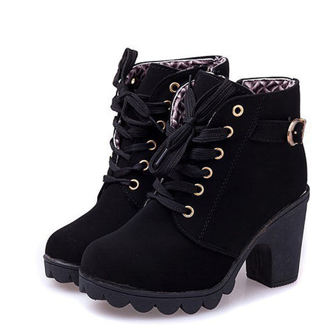 High Quality Winter boots Solid Lace Up Boots for Women