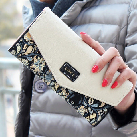 DUDINI Envelope Floral Printed Wallet for Women