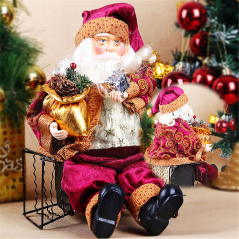 35cm Sitting Santa Claus Doll Figurine Christmas Home Decor
