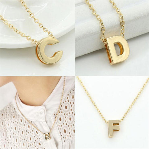 Geometric Metal Alloy Initial Name Pendant Necklace