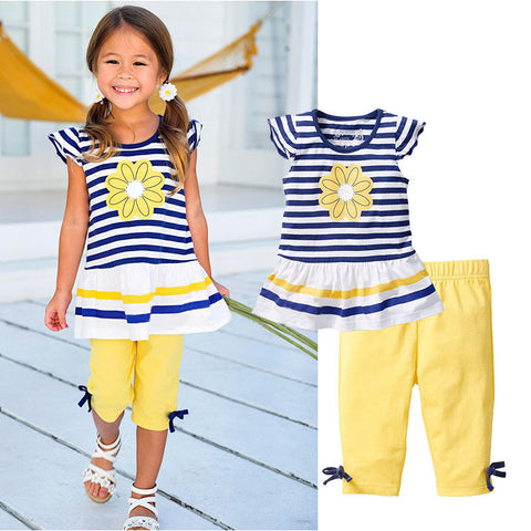 Girls Clothing Set Short Sleeve Striped T-Shirt w/ Pants